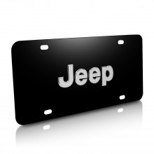 Jeep Nameplate 3D Logo Black Stainless Steel License Plate