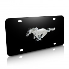 Ford Mustang 3D Logo Black Stainless Steel License Plate
