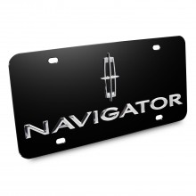 Lincoln Navigator Double 3d Logo Black Stainless Steel License Plate