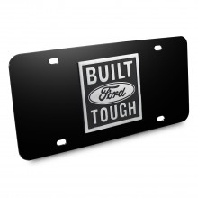 Ford Built Ford Tough 3D Logo Black Stainless Steel License Plate