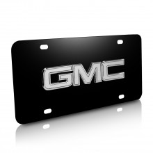 GMC Chrome 3D Logo Black Stainless Steel License Plate