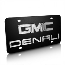 GMC Denali Double 3D Logo Black Stainless Steel License Plate