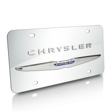 Chrysler Wings Double 3D Logo Chrome Stainless Steel License Plate