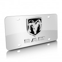 RAM Double 3D Logo Chrome Stainless Steel License Plate