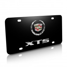 Cadillac XTS Double 3D Logo Black Stainless Steel License Plate