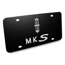 Lincoln MKS Double 3d Logo Black Stainless Steel License Plate