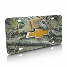 Chevrolet New Gold Bowtie 3D Logo Camo Stainless Steel License Plate
