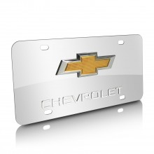 Chevrolet New Gold Bowtie Double 3D Logo Chrome Stainless Steel License Plate