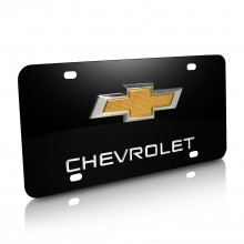 Chevrolet New Gold Bowtie Double 3D Logo Black Stainless Steel License Plate