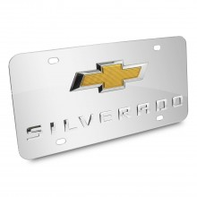Chevrolet Silverado New Gold Bowtie 3D Logo Chrome Stainless Steel License Plate