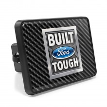 Ford Built Ford Tough Carbon Fiber Look UV Graphic Metal Plate on ABS Plastic 2 inch Tow Hitch Cover
