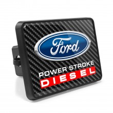 Ford Power-Stroke Diesel Carbon Fiber Look UV Graphic Metal Plate on ABS Plastic 2 inch Tow Hitch Cover