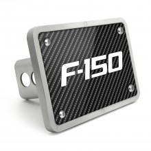 Ford F-150 2009-2014 Black Carbon Fiber Texture Plate Billet Aluminum 2 inch Tow Hitch Cover
