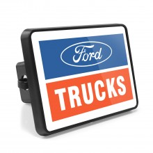Ford Trucks UV Graphic White Metal Plate on ABS Plastic 2 inch Tow Hitch Cover