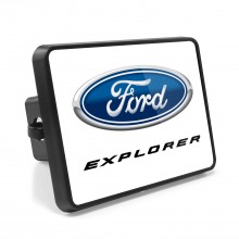 Ford Explorer UV Graphic White Metal Plate on ABS Plastic 2 inch Tow Hitch Cover