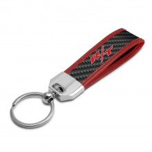 Dodge R/T Logo Real Carbon Fiber Strap Key Chain with Red Edge