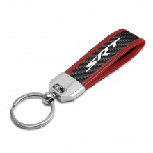 Dodge Jeep SRT Logo Real Carbon Fiber Strap Key Chain with Red Edge