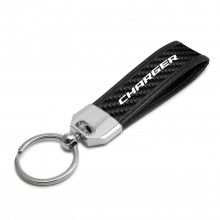 Dodge Charger Real Carbon Fiber Leather Key Chain with Black Stitching