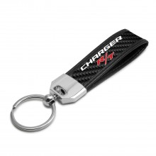 Dodge Charger R/T Real Carbon Fiber Leather Key Chain with Black Stitching