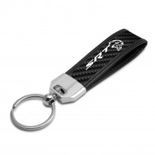 Dodge SRT Hellcat Real Carbon Fiber Leather Key Chain with Black Stitching
