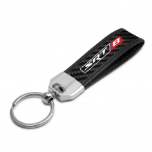 SRT-8 Logo Real Carbon Fiber Leather Key Chain with Black Stitching for Dodge Jeep RAM