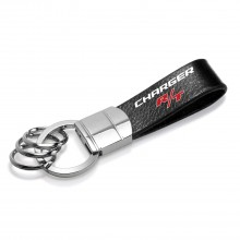 Dodge Charger R/T Genuine Black Leather Strap Loop Key Chain