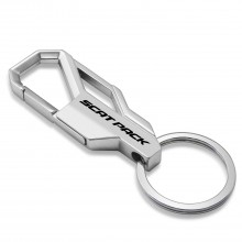 Dodge Challenger Scat-Pack Full Color Silver Snap Hook Metal Key Chain