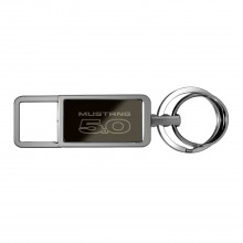 Ford Mustang 5.0 Black Pull Top Rectangular Metal Key Chain