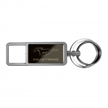Ford Mustang Black Pull Top Rectangular Metal Key Chain