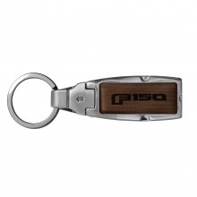 Ford F-150 2015 up Brown Leather Detachable Ring Black Metal Key Chain