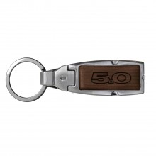 Ford Mustang 5.0 Brown Leather Detachable Ring Black Metal Key Chain