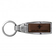 Ford Mustang Tri-Bar Brown Leather Detachable Ring Black Metal Key Chain