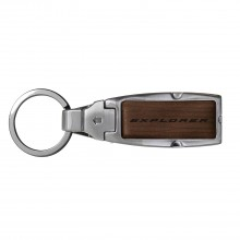 Ford Explorer Brown Leather Detachable Ring Black Metal Key Chain
