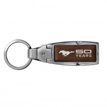 Ford Mustang 50 Years in Color Brown Leather Detachable Ring Black Metal Key Chain