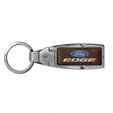 Ford Edge in Color Brown Leather Detachable Ring Black Metal Key Chain