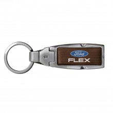 Ford Flex in Color Brown Leather Detachable Ring Black Metal Key Chain