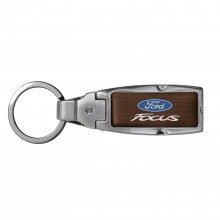 Ford Focus in Color Brown Leather Detachable Ring Black Metal Key Chain