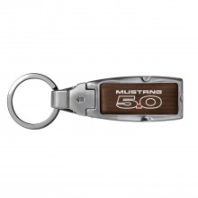 Ford Mustang 5.0 in Color Brown Leather Detachable Ring Black Metal Key Chain
