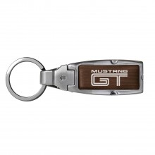 Ford Mustang GT in Color Brown Leather Detachable Ring Black Metal Key Chain