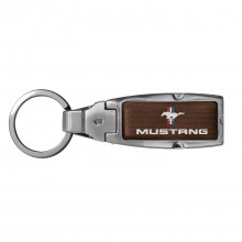 Ford Mustang Tri-Bar in Color Brown Leather Detachable Ring Black Metal Key Chain