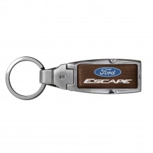 Ford Escape in Color Brown Leather Detachable Ring Black Metal Key Chain