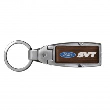Ford SVT in Color Brown Leather Detachable Ring Black Metal Key Chain