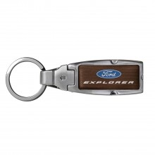 Ford Explorer in Color Brown Leather Detachable Ring Black Metal Key Chain