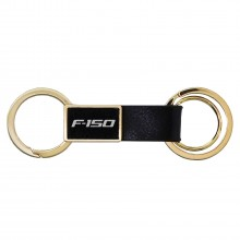 Ford F-150 Round Hook Leather Strip Double Ring Golden Metal Key Chain