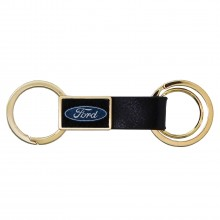 Ford Logo Round Hook Leather Strip Double Ring Golden Metal Key Chain