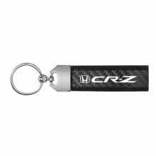 Honda CR-Z Real Carbon Fiber Leather Key Chain with Black Stitching