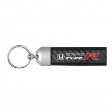 Honda Civic Type R Real Carbon Fiber Leather Key Chain with Black Stitching