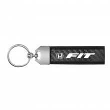 Honda Fit Real Carbon Fiber Leather Key Chain with Black Stitching