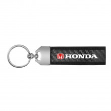 Honda Logo in Red Real Carbon Fiber Leather Key Chain with Black Stitching