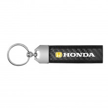 Honda Logo in Yellow Real Carbon Fiber Leather Key Chain with Black Stitching